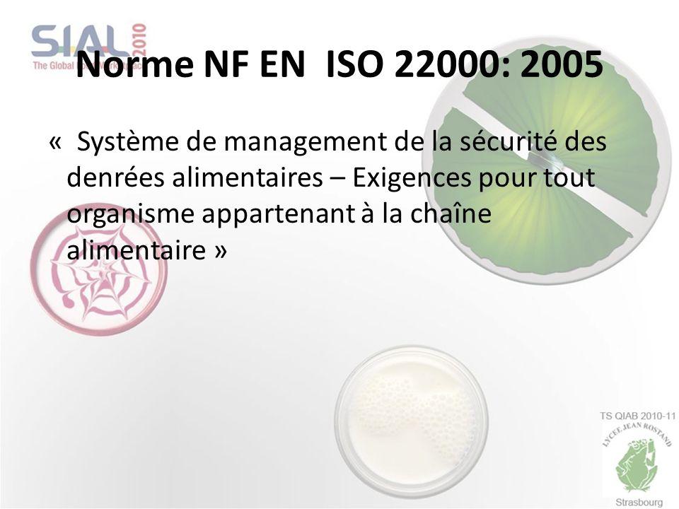Norme NF EN ISO 22000: 2005 « Système de management de la sécurité des denrées alimentaires – Exigences pour tout organisme appartenant à la chaîne al