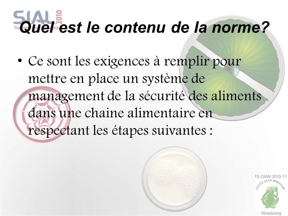 Quel est le contenu de la norme? Ce sont les exigences à remplir pour mettre en place un système de management de la sécurité des aliments dans une ch