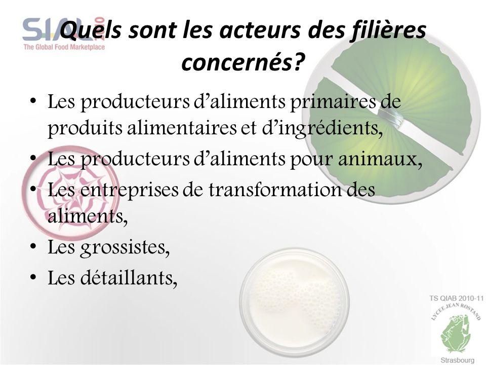 Quels sont les acteurs des filières concernés? Les producteurs daliments primaires de produits alimentaires et dingrédients, Les producteurs daliments