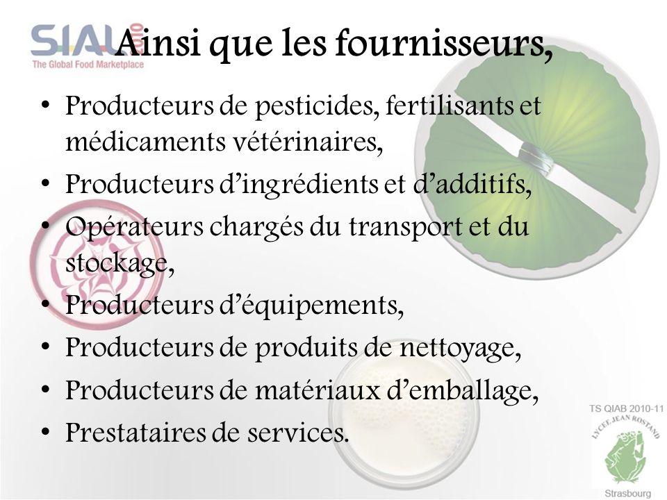 Ainsi que les fournisseurs, Producteurs de pesticides, fertilisants et médicaments vétérinaires, Producteurs dingrédients et dadditifs, Opérateurs cha