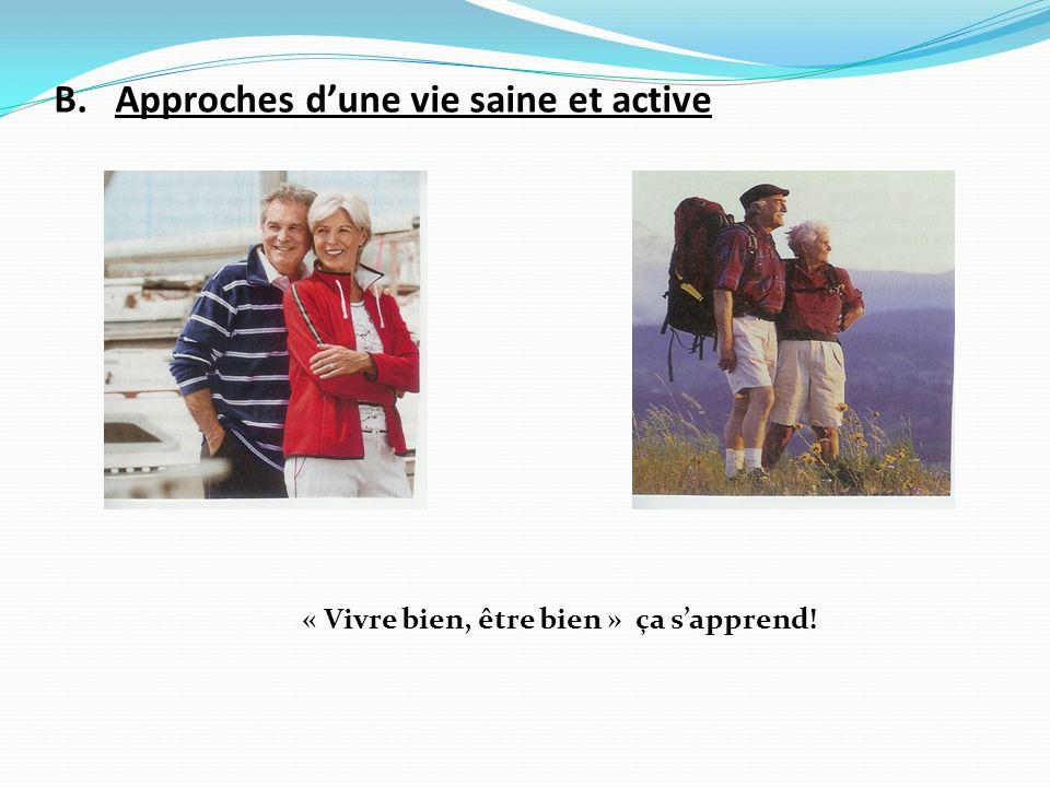 B. Approches dune vie saine et active « Vivre bien, être bien » ça sapprend!