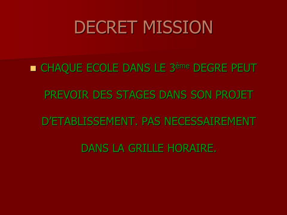 DECRET MISSION CHAQUE ECOLE DANS LE 3 ème DEGRE PEUT PREVOIR DES STAGES DANS SON PROJET DETABLISSEMENT.