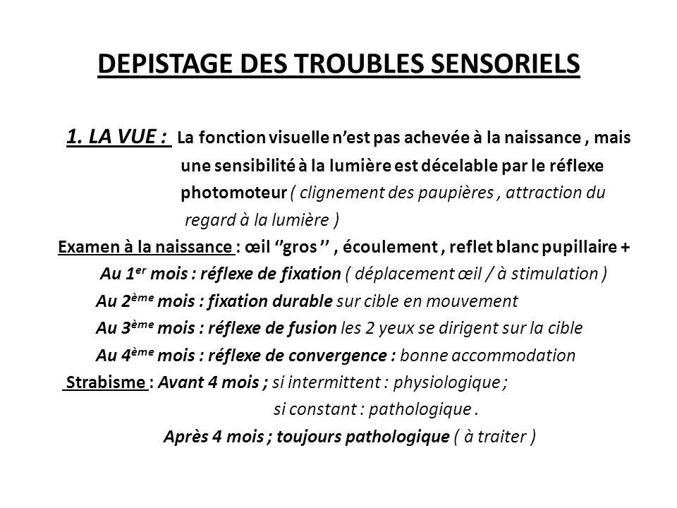 DEPISTAGE DES TROUBLES SENSORIELS 1. LA VUE : La fonction visuelle nest pas achevée à la naissance, mais une sensibilité à la lumière est décelable pa