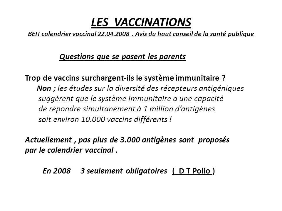 LES VACCINATIONS BEH calendrier vaccinal 22.04.2008. Avis du haut conseil de la santé publique Questions que se posent les parents Trop de vaccins sur