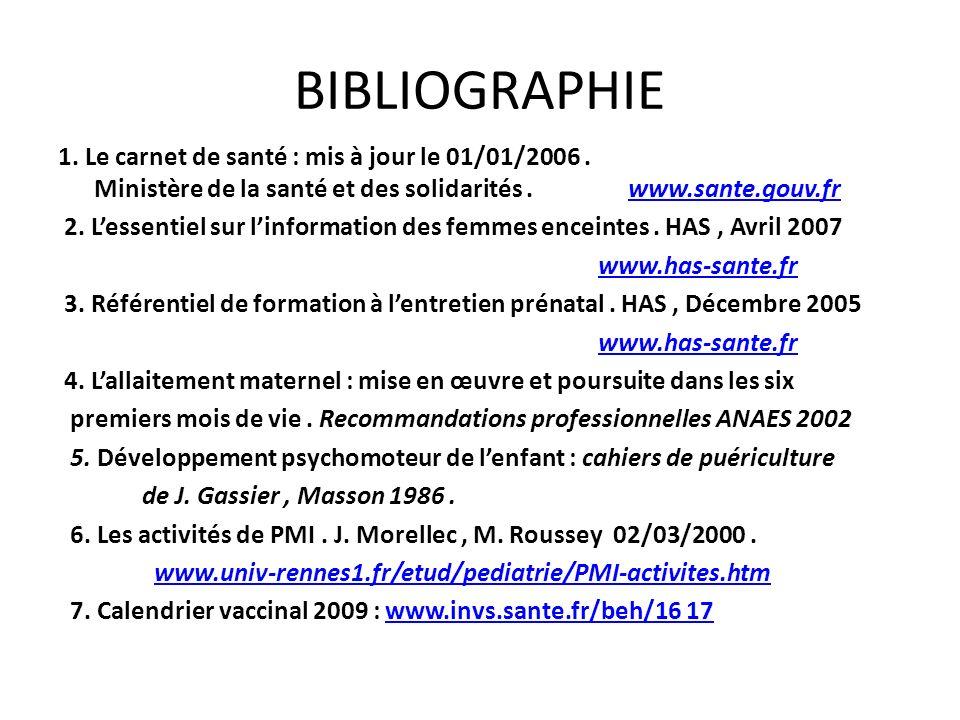 BIBLIOGRAPHIE 1. Le carnet de santé : mis à jour le 01/01/2006. Ministère de la santé et des solidarités. www.sante.gouv.frwww.sante.gouv.fr 2. Lessen