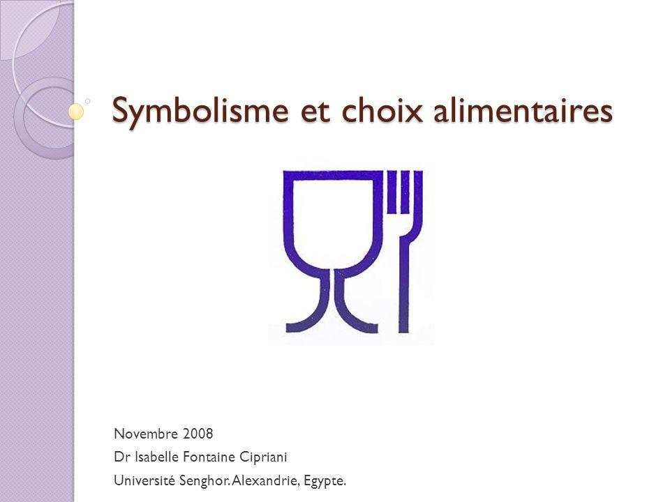 Symbolisme et choix alimentaires Novembre 2008 Dr Isabelle Fontaine Cipriani Université Senghor. Alexandrie, Egypte.