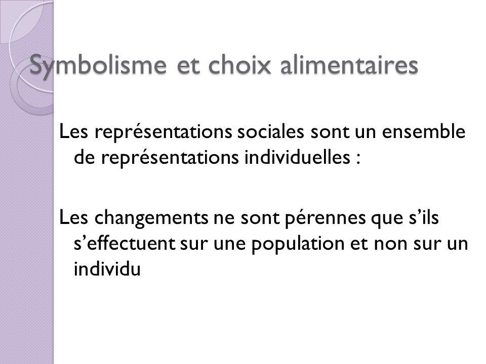 Symbolisme et choix alimentaires Les représentations sociales sont un ensemble de représentations individuelles : Les changements ne sont pérennes que