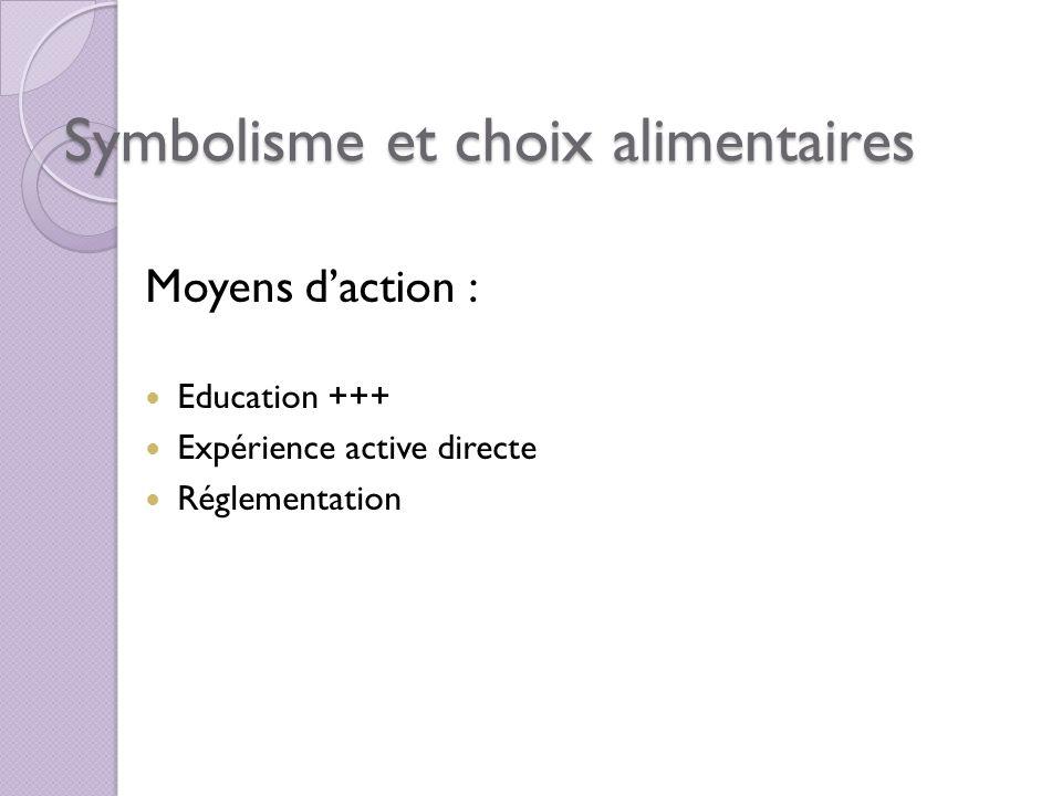 Symbolisme et choix alimentaires Moyens daction : Education +++ Expérience active directe Réglementation