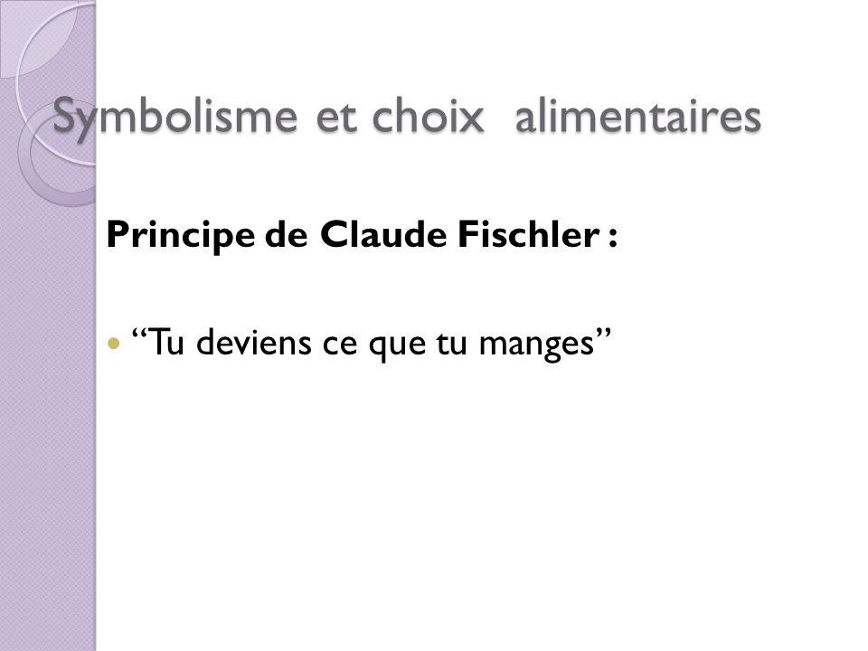 Symbolisme et choix alimentaires Principe de Claude Fischler : Tu deviens ce que tu manges