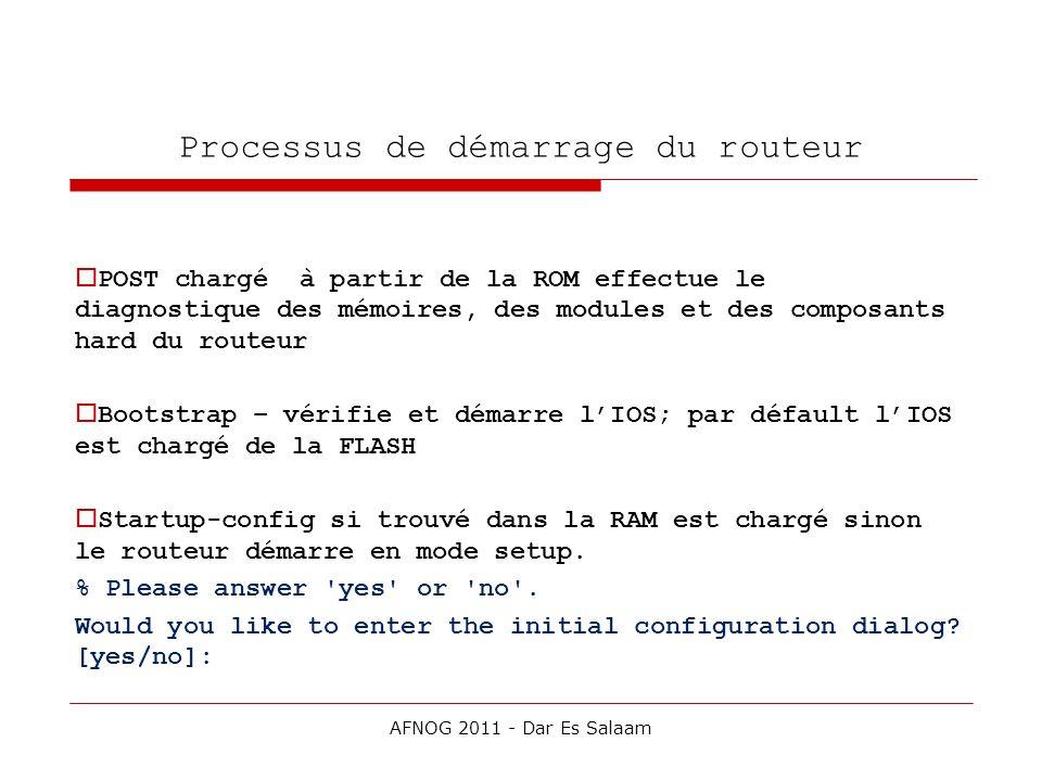 Processus de démarrage du routeur POST chargé à partir de la ROM effectue le diagnostique des mémoires, des modules et des composants hard du routeur