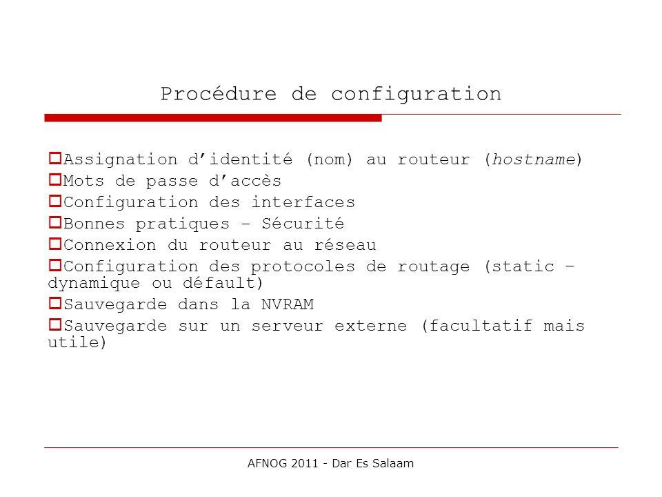 Procédure de configuration Assignation didentité (nom) au routeur (hostname) Mots de passe daccès Configuration des interfaces Bonnes pratiques - Sécu