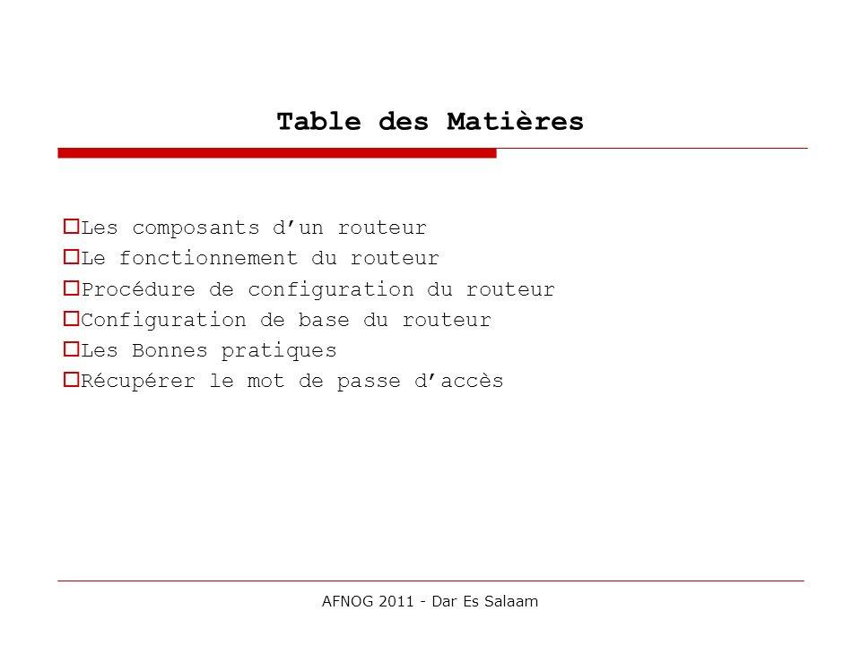 Table des Matières Les composants dun routeur Le fonctionnement du routeur Procédure de configuration du routeur Configuration de base du routeur Les