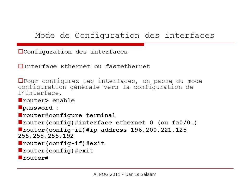Mode de Configuration des interfaces Configuration des interfaces Interface Ethernet ou fastethernet Pour configurez les interfaces, on passe du mode