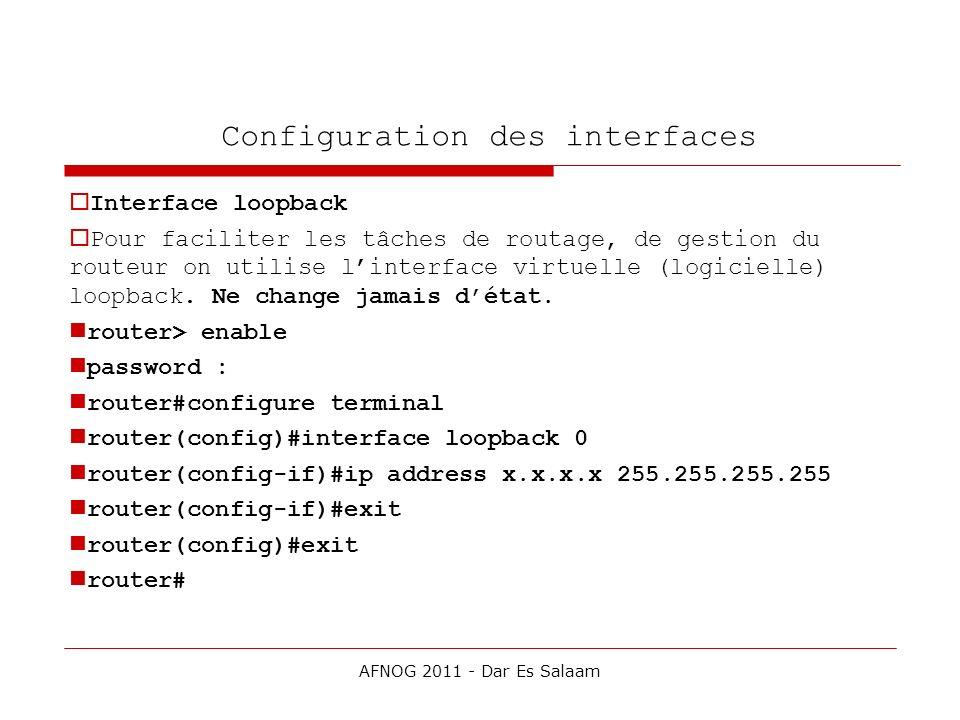 Configuration des interfaces Interface loopback Pour faciliter les tâches de routage, de gestion du routeur on utilise linterface virtuelle (logiciell