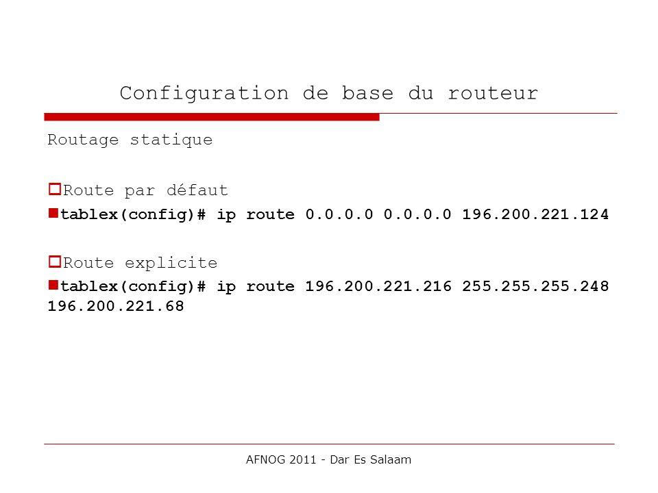 Configuration de base du routeur Routage statique Route par défaut tablex(config)# ip route 0.0.0.0 0.0.0.0 196.200.221.124 Route explicite tablex(con