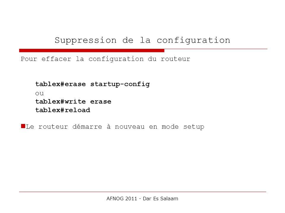 Suppression de la configuration Pour effacer la configuration du routeur tablex#erase startup-config ou tablex#write erase tablex#reload Le routeur dé
