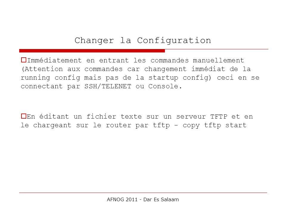 Changer la Configuration Immédiatement en entrant les commandes manuellement (Attention aux commandes car changement immédiat de la running config mai