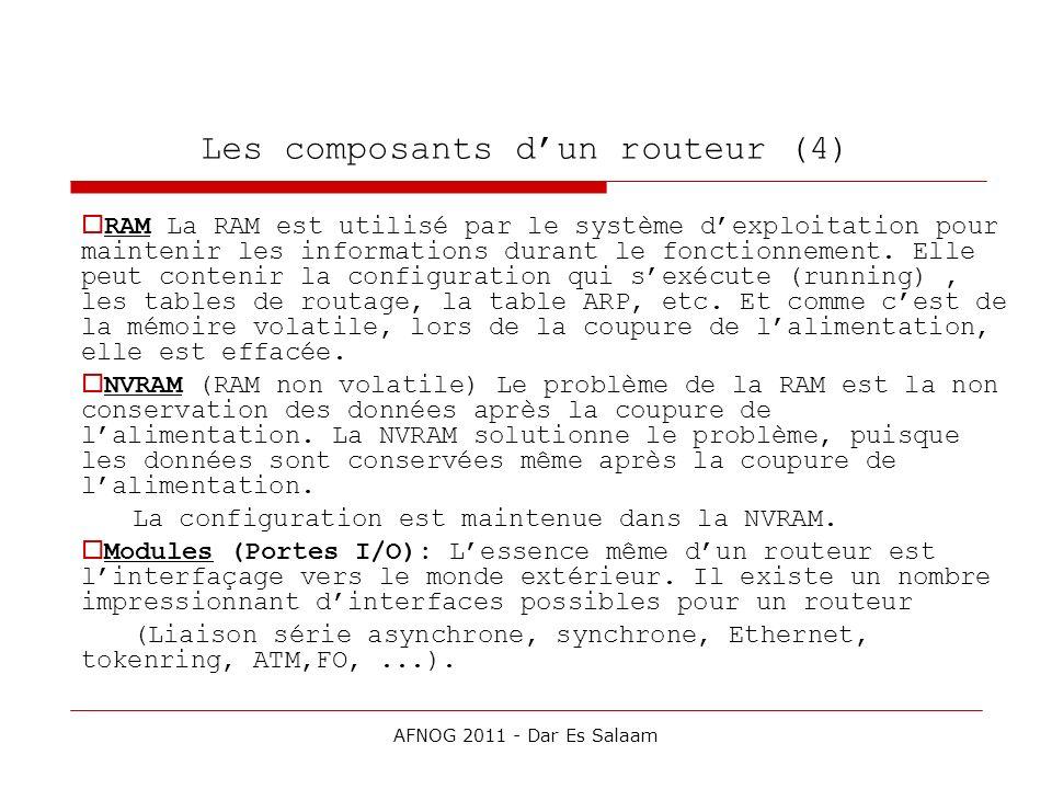 Les composants dun routeur (4) RAM La RAM est utilisé par le système dexploitation pour maintenir les informations durant le fonctionnement. Elle peut