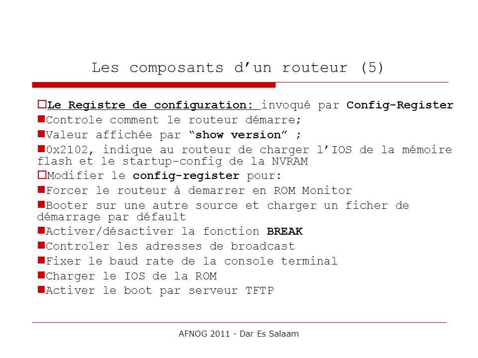 Les composants dun routeur (5) Le Registre de configuration: invoqué par Config-Register Controle comment le routeur démarre; Valeur affichée par show