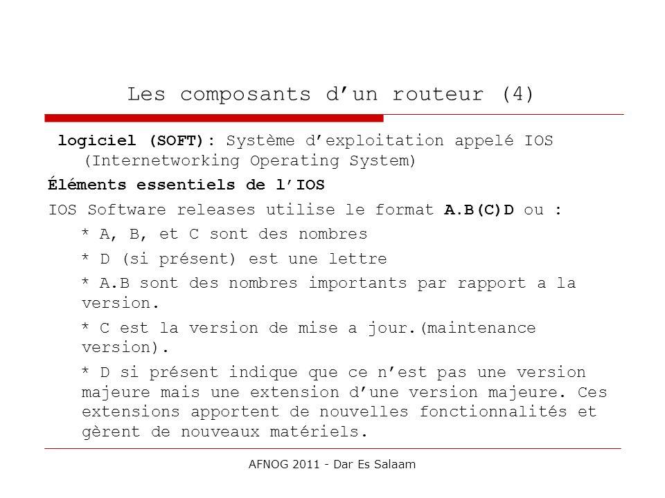 Les composants dun routeur (4) logiciel (SOFT): Système dexploitation appelé IOS (Internetworking Operating System) Éléments essentiels de lIOS IOS So