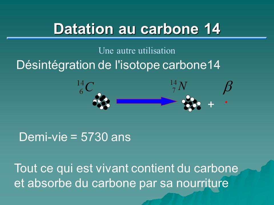 Datation au carbone 14 Une autre utilisation + 6 14 C 7 N Désintégration de l'isotope carbone14 Demi-vie = 5730 ans Tout ce qui est vivant contient du