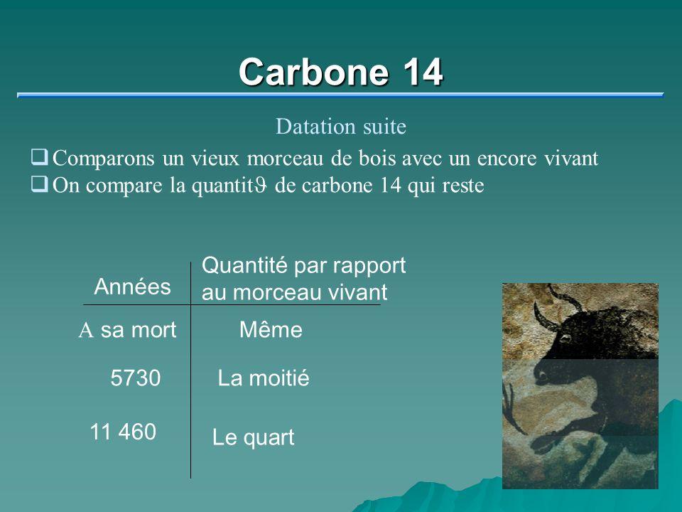 Carbone 14 Datation suite Comparons un vieux morceau de bois avec un encore vivant On compare la quantit J de carbone 14 qui reste Années Quantité par