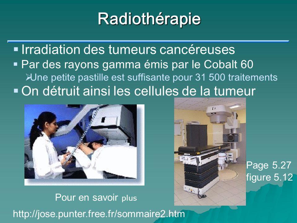 Radiothérapie Irradiation des tumeurs cancéreuses Par des rayons gamma émis par le Cobalt 60 Une petite pastille est suffisante pour 31 500 traitement
