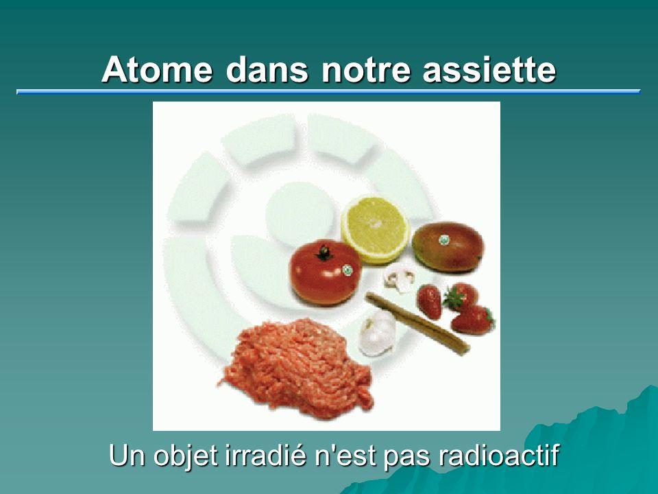 Atome dans notre assiette Un objet irradié n'est pas radioactif