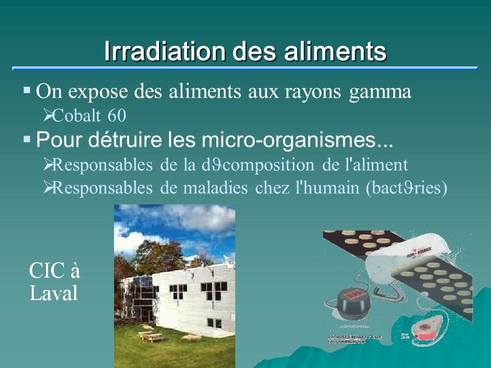 Irradiation des aliments On expose des aliments aux rayons gamma Cobalt 60 Pour détruire les micro-organismes... Responsables de la d J composition de