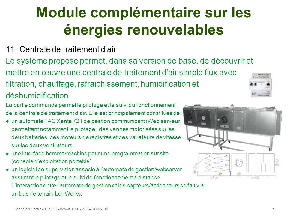 Schneider Electric 13 - DOpETS – Benoît DESCAMPS – 01/06/2010 Module complémentaire sur les énergies renouvelables 11- Centrale de traitement dair Le