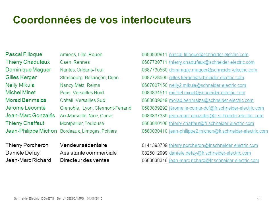 Schneider Electric 18 - DOpETS – Benoît DESCAMPS – 01/06/2010 Coordonnées de vos interlocuteurs Pascal Filloque Amiens, Lille, Rouen 0683839911pascal.