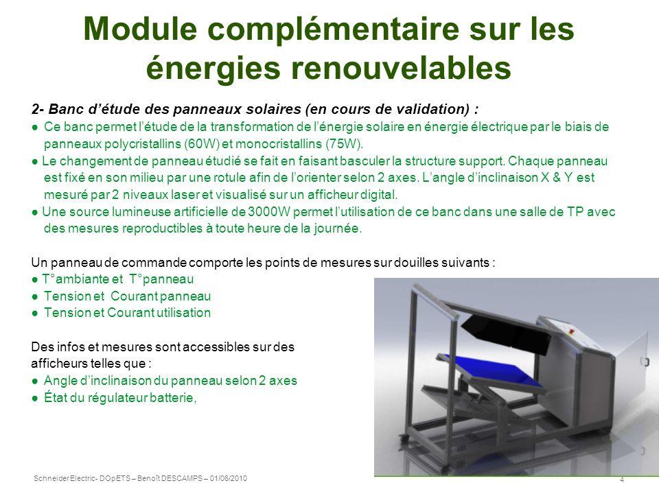 Schneider Electric 5 - DOpETS – Benoît DESCAMPS – 01/06/2010 Module complémentaire sur les énergies renouvelables 3- SOLEOLIS : panneaux solaires et éolienne SOLEOLIS permet de découvrir la production dénergie par panneau solaire ou par éolienne.