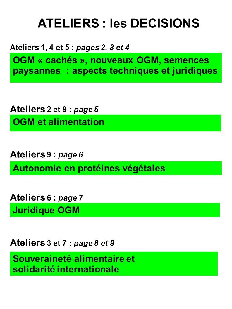 ATELIERS : les DECISIONS Ateliers 1, 4 et 5 : pages 2, 3 et 4 OGM « cachés », nouveaux OGM, semences paysannes : aspects techniques et juridiques Ateliers 2 et 8 : page 5 OGM et alimentation Ateliers 9 : page 6 Autonomie en protéines végétales Juridique OGM Ateliers 6 : page 7 Souveraineté alimentaire et solidarité internationale Ateliers 3 et 7 : page 8 et 9