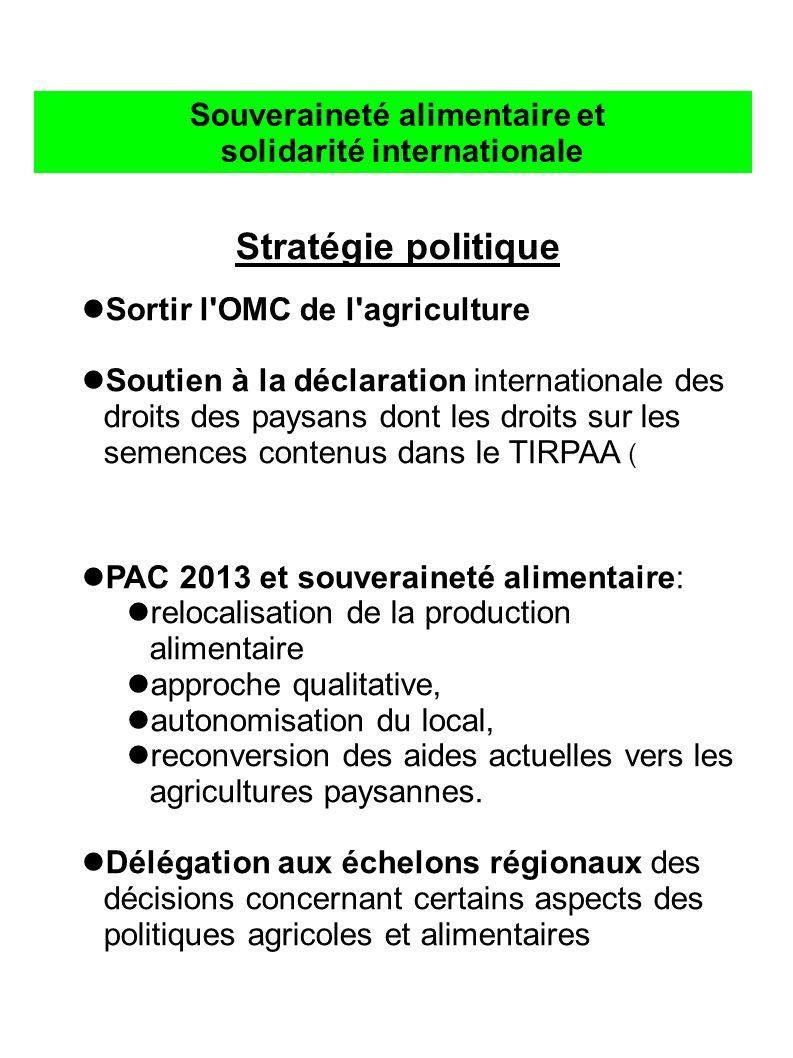 Souveraineté alimentaire et solidarité internationale Stratégie politique Sortir l OMC de l agriculture Soutien à la déclaration internationale des droits des paysans dont les droits sur les semences contenus dans le TIRPAA (Traité International sur les ressources phytogénétiques pour l alimentation et l agriculture) PAC 2013 et souveraineté alimentaire: relocalisation de la production alimentaire approche qualitative, autonomisation du local, reconversion des aides actuelles vers les agricultures paysannes.