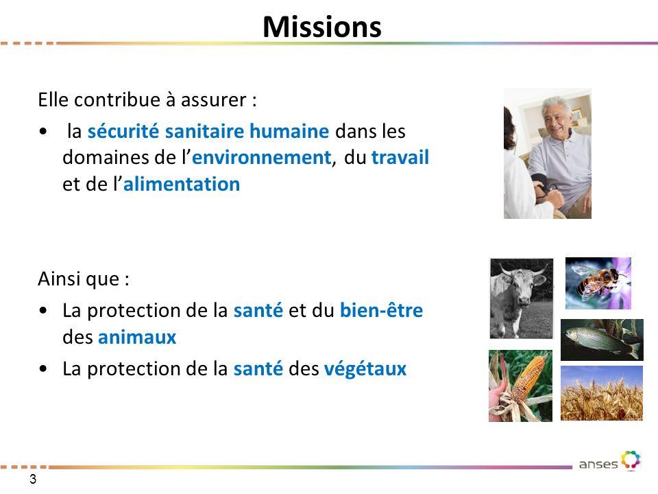 Elle contribue à assurer : la sécurité sanitaire humaine dans les domaines de lenvironnement, du travail et de lalimentation Ainsi que : La protection
