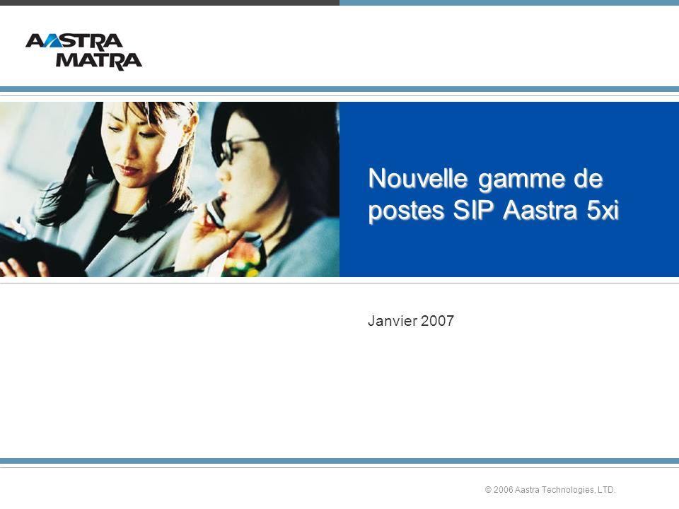 © 2006 Aastra Technologies, LTD. Nouvelle gamme de postes SIP Aastra 5xi Janvier 2007