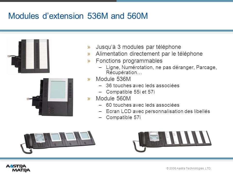 © 2006 Aastra Technologies, LTD. Modules dextension 536M and 560M »Jusquà 3 modules par téléphone »Alimentation directement par le téléphone »Fonction