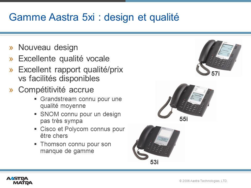 © 2006 Aastra Technologies, LTD. Gamme Aastra 5xi : design et qualité »Nouveau design »Excellente qualité vocale »Excellent rapport qualité/prix vs fa