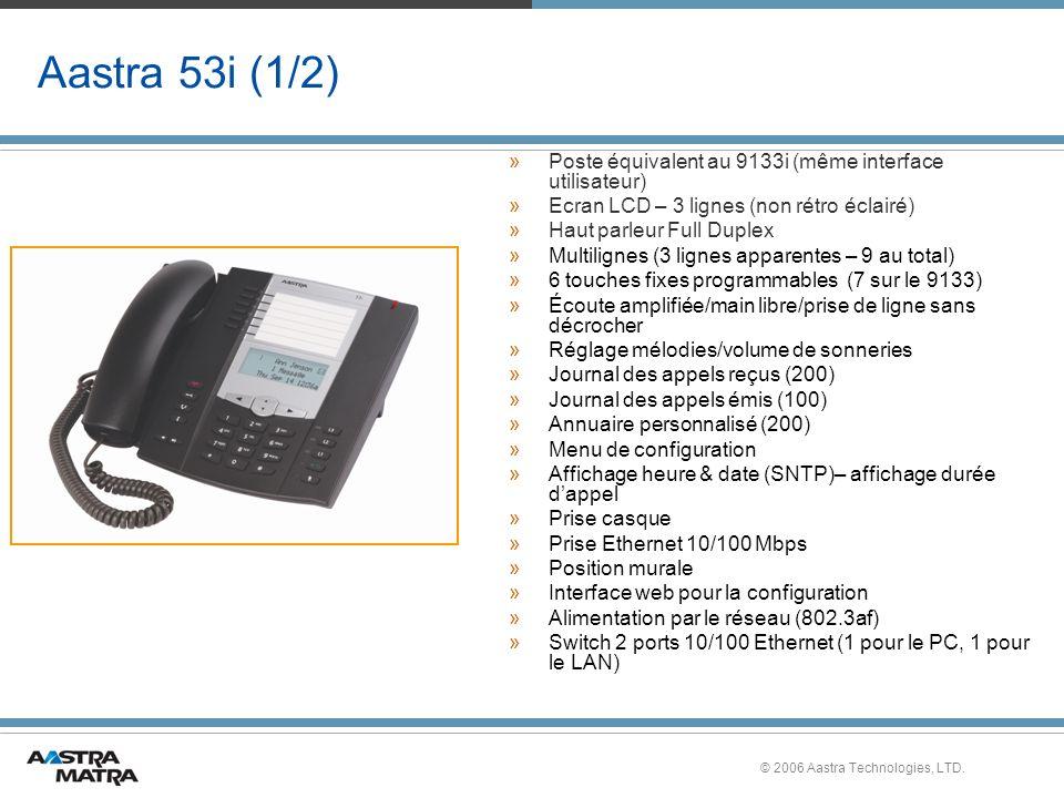 © 2006 Aastra Technologies, LTD. Aastra 53i (1/2) »Poste équivalent au 9133i (même interface utilisateur) »Ecran LCD – 3 lignes (non rétro éclairé) »H