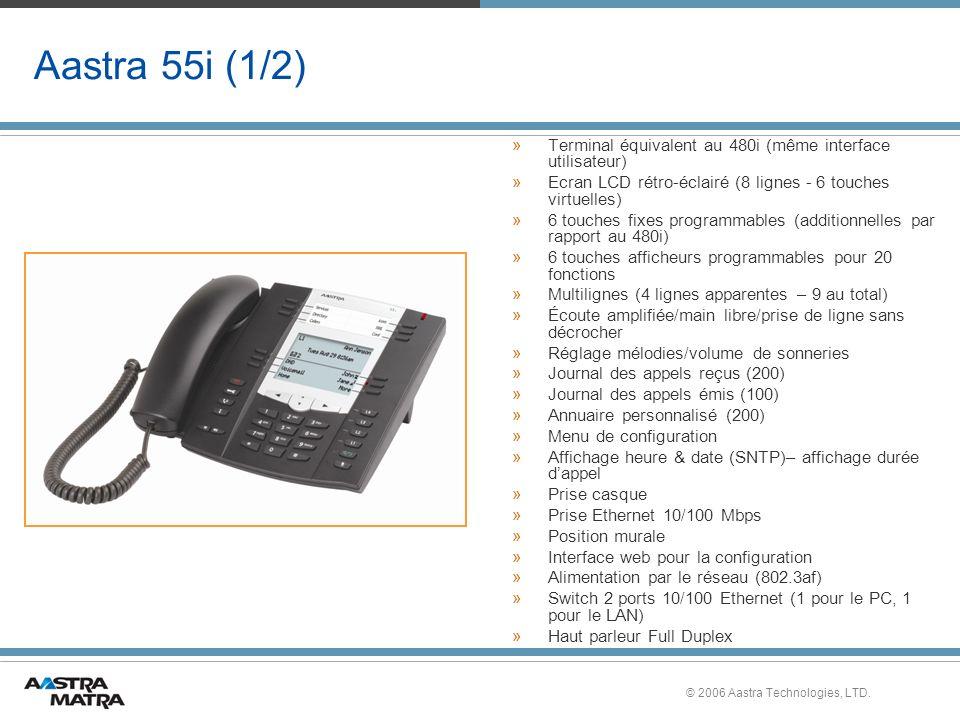 © 2006 Aastra Technologies, LTD. Aastra 55i (1/2) »Terminal équivalent au 480i (même interface utilisateur) »Ecran LCD rétro-éclairé (8 lignes - 6 tou