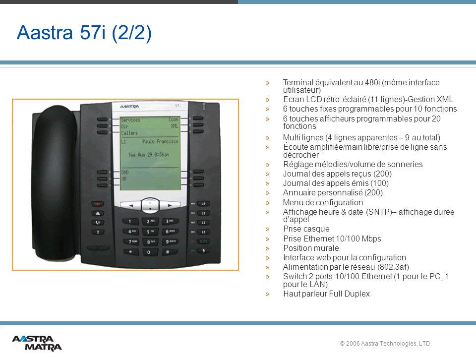 © 2006 Aastra Technologies, LTD. Aastra 57i (2/2) » »Terminal équivalent au 480i (même interface utilisateur) » »Ecran LCD rétro éclairé (11 lignes)-G