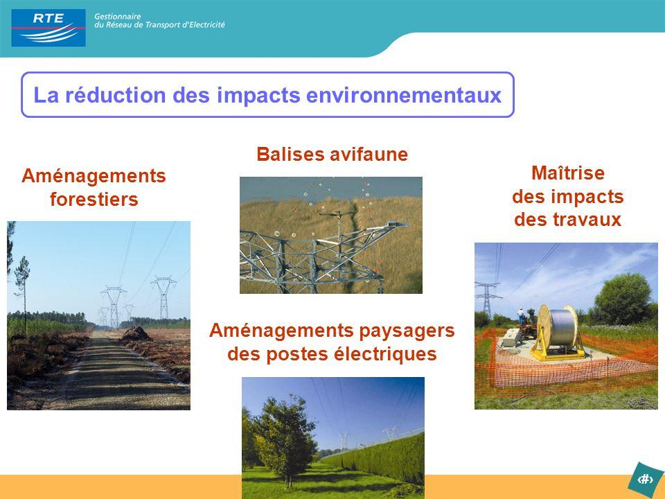 6 La réduction des impacts environnementaux Aménagements paysagers des postes électriques Aménagements forestiers Balises avifaune Maîtrise des impact