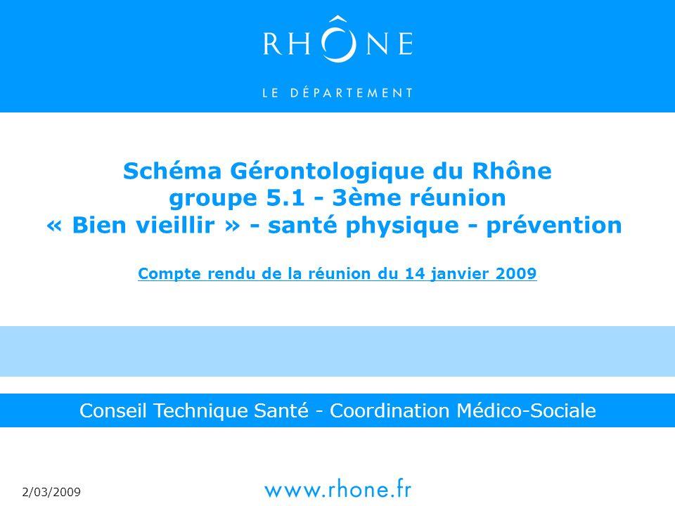 2/03/2009 Conseil Technique Santé - Coordination Médico-Sociale Schéma Gérontologique du Rhône groupe 5.1 - 3ème réunion « Bien vieillir » - santé physique - prévention Compte rendu de la réunion du 14 janvier 2009