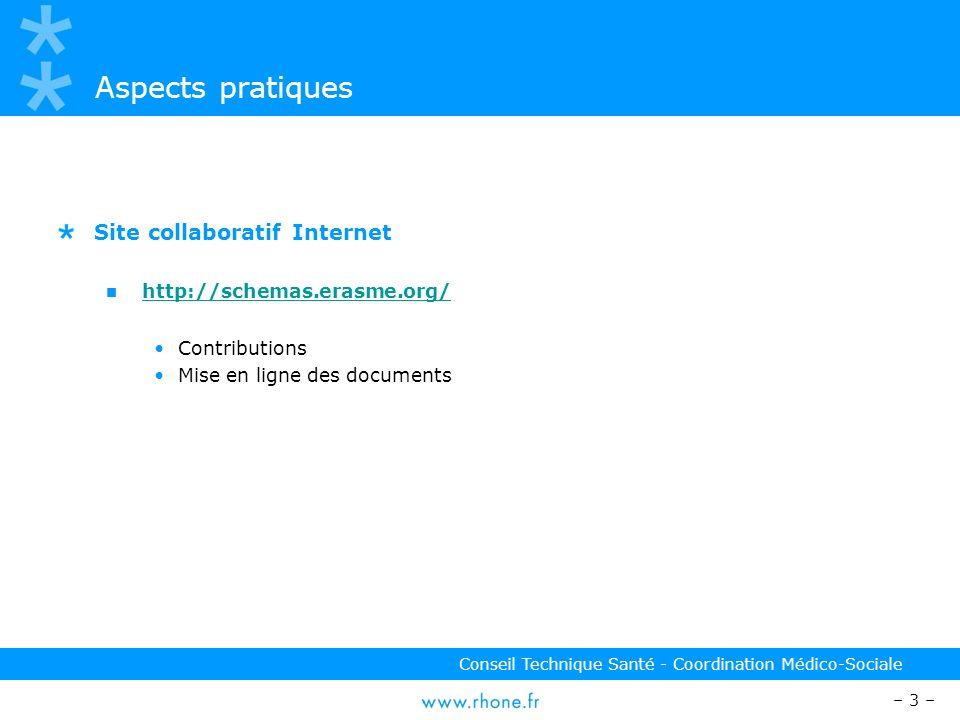 – 3 – Conseil Technique Santé - Coordination Médico-Sociale Aspects pratiques Site collaboratif Internet http://schemas.erasme.org/ Contributions Mise en ligne des documents