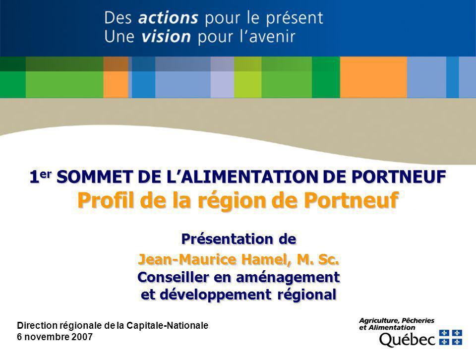 Direction régionale de la Capitale-Nationale 6 novembre 2007 1 er SOMMET DE LALIMENTATION DE PORTNEUF Profil de la région de Portneuf Présentation de Jean-Maurice Hamel, M.
