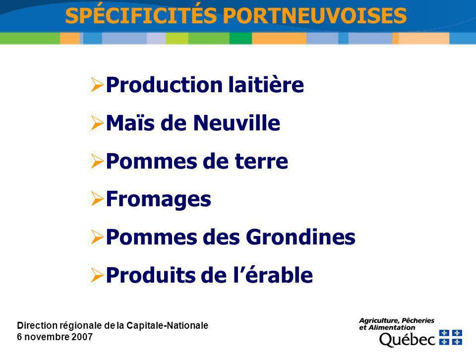 SPÉCIFICITÉS PORTNEUVOISES Production laitière Maïs de Neuville Pommes de terre Fromages Pommes des Grondines Produits de lérable Direction régionale de la Capitale-Nationale 6 novembre 2007