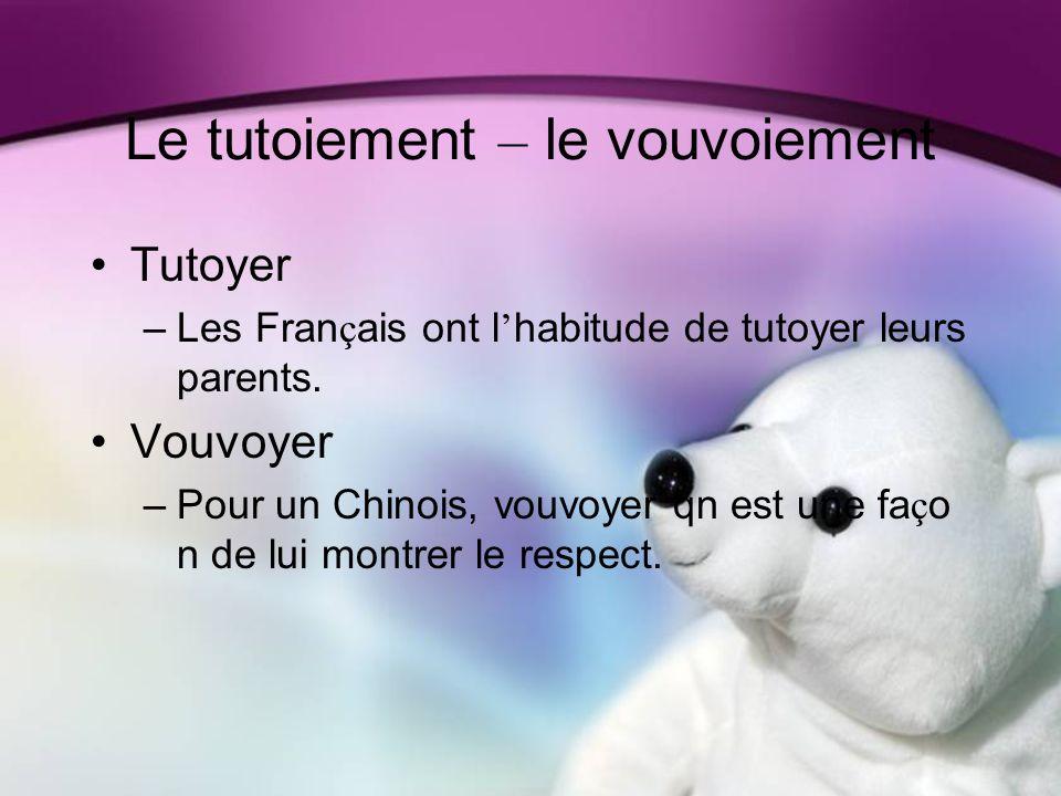 Le tutoiement – le vouvoiement Tutoyer –Les Fran ç ais ont l habitude de tutoyer leurs parents.