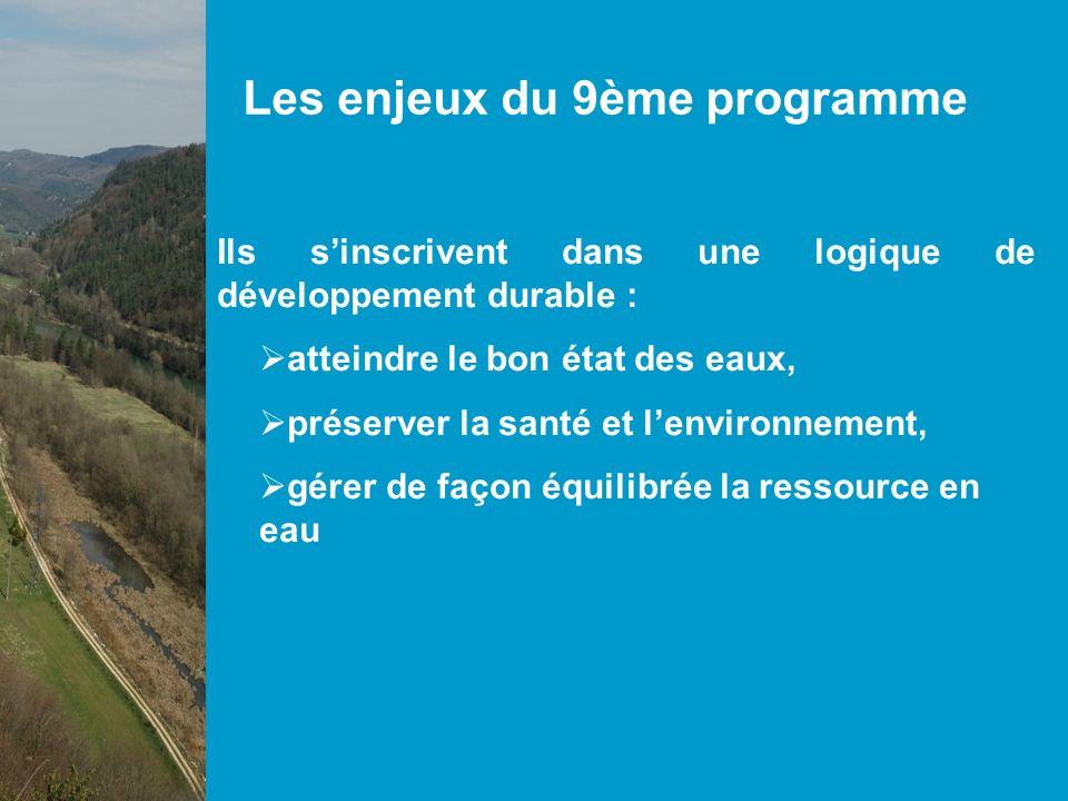 Les enjeux du 9ème programme Ils sinscrivent dans une logique de développement durable : atteindre le bon état des eaux, préserver la santé et lenvironnement, gérer de façon équilibrée la ressource en eau