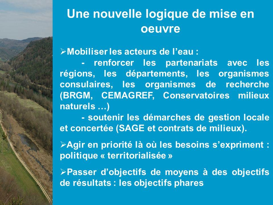 Concrètement en 2009: Mobiliser les acteurs de leau : ( - renforcer les partenariats avec les régions, les départements, les organismes consulaires, les organismes de recherche (BRGM, CEMAGREF, Conservatoires milieux naturels …) - soutenir les démarches de gestion locale et concertée (SAGE et contrats de milieux).