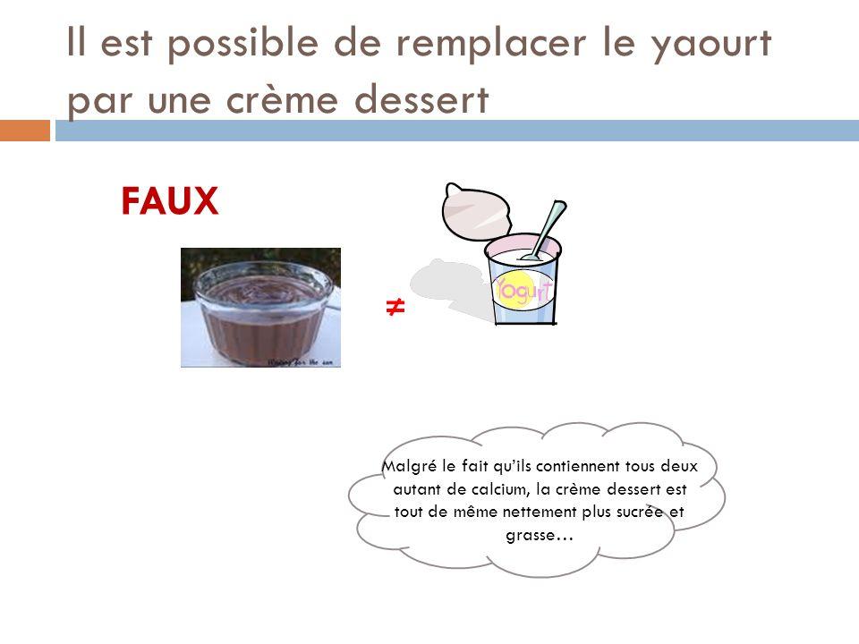 Il est possible de remplacer le yaourt par une crème dessert FAUX Malgré le fait quils contiennent tous deux autant de calcium, la crème dessert est t